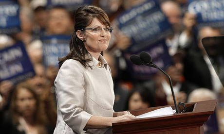 Sarah Palin addresses the Republican National Convention.