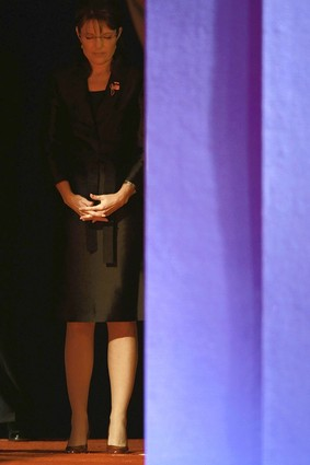 Sarah Palin waiting in the wings before last night's debate.